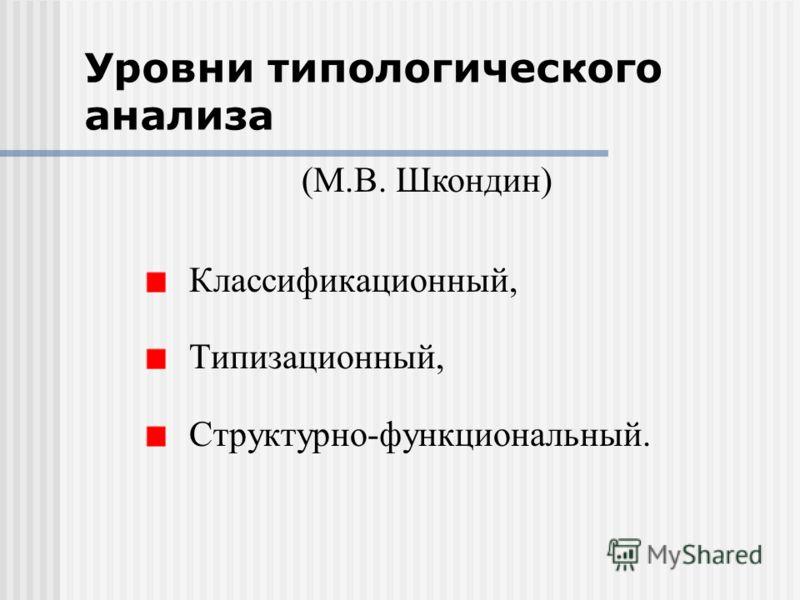 Уровни типологического анализа Классификационный, Типизационный, Структурно-функциональный. (М.В. Шкондин)