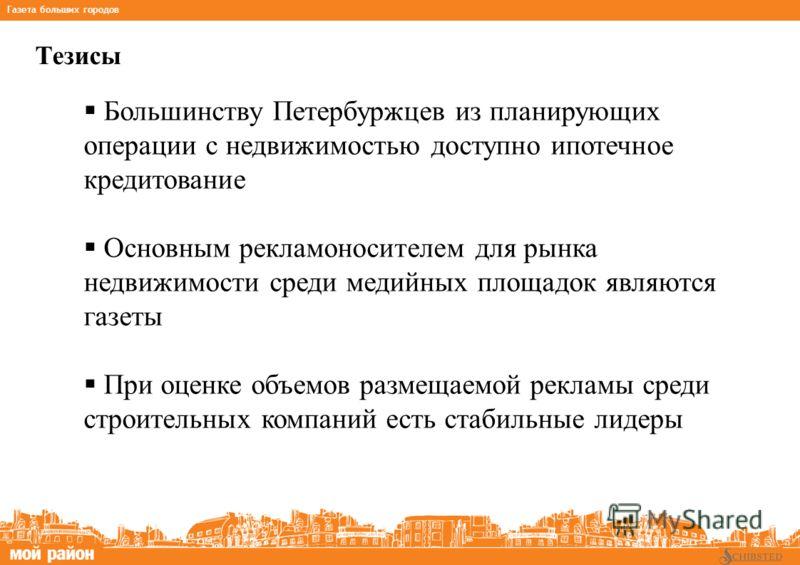 Тезисы *на основании данных TNS Gallup Media, MIndex Газета больших городов Большинству Петербуржцев из планирующих операции с недвижимостью доступно ипотечное кредитование Основным рекламоносителем для рынка недвижимости среди медийных площадок явля