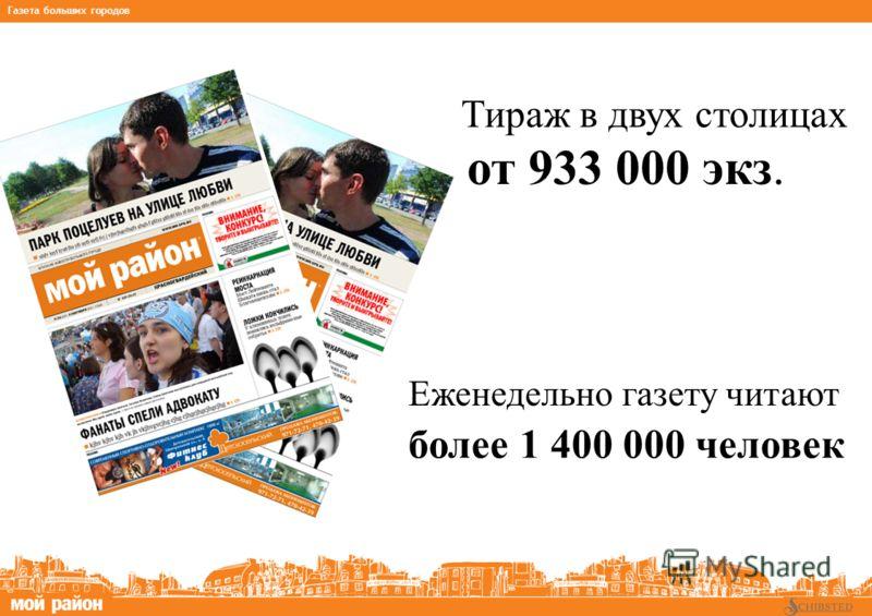 Тираж в двух столицах Еженедельно газету читают от 933 000 экз. более 1 400 000 человек * на основании данных TNS Gallup Media, NRS 2007_3 Газета больших городов