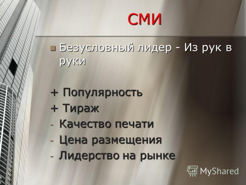 СМИ Безусловный лидер - Из рук в руки Безусловный лидер - Из рук в руки + Популярность + Тираж - Качество печати - Цена размещения - Лидерство на рынке
