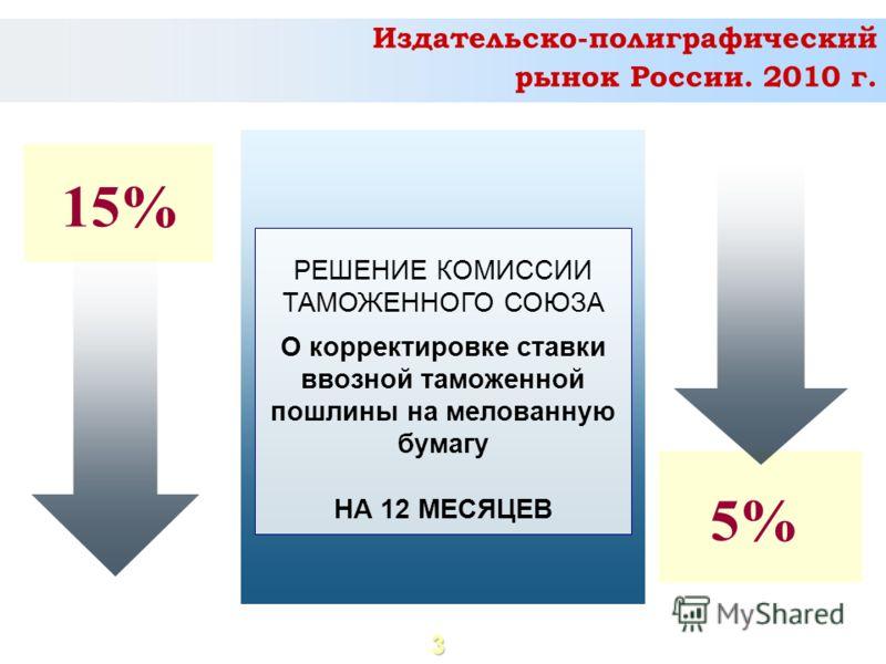 3 РЕШЕНИЕ КОМИССИИ ТАМОЖЕННОГО СОЮЗА О корректировке ставки ввозной таможенной пошлины на мелованную бумагу НА 12 МЕСЯЦЕВ 15% 5% Издательско-полиграфический рынок России. 2010 г.