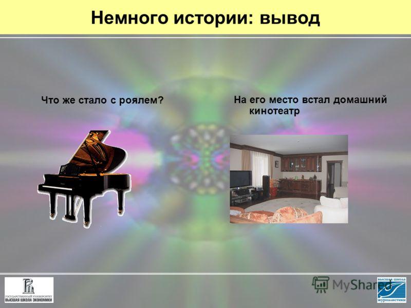 Немного истории: вывод Что же стало с роялем? На его место встал домашний кинотеатр