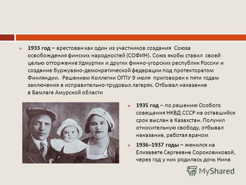 1933 год – арестован как один из участников создания Союза освобождения финских народностей ( СОФИН ). Союз якобы ставил своей целью отторжение Удмуртии и других финно - угорских республик России и создание буржуазно - демократической федерации под п