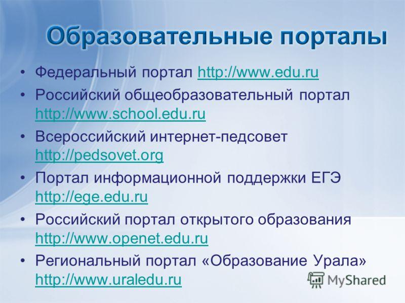 Федеральный портал http://www.edu.ruhttp://www.edu.ru Российский общеобразовательный портал http://www.school.edu.ru http://www.school.edu.ru Всероссийский интернет-педсовет http://pedsovet.org http://pedsovet.org Портал информационной поддержки ЕГЭ