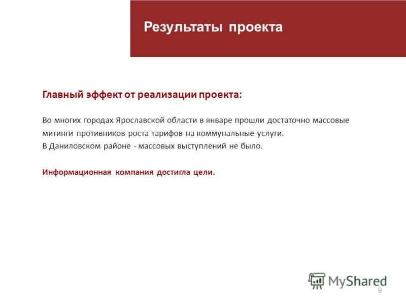 9 Результаты проекта Главный эффект от реализации проекта: Во многих городах Ярославской области в январе прошли достаточно массовые митинги противников роста тарифов на коммунальные услуги. В Даниловском районе - массовых выступлений не было. Информ