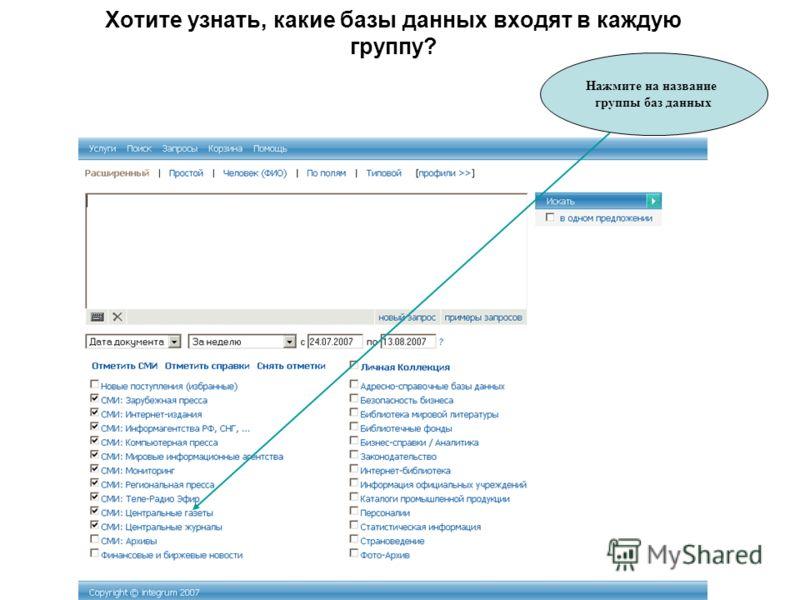 Хотите узнать, какие базы данных входят в каждую группу? Нажмите на название группы баз данных