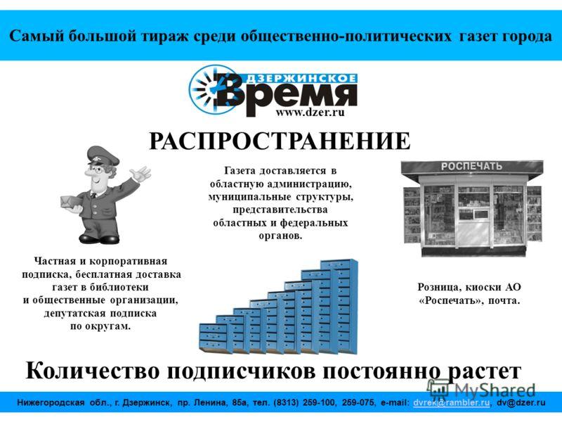 Самый большой тираж среди общественно-политических газет города www.dzer.ru Газета доставляется в областную администрацию, муниципальные структуры, представительства областных и федеральных органов. РАСПРОСТРАНЕНИЕ Частная и корпоративная подписка, б
