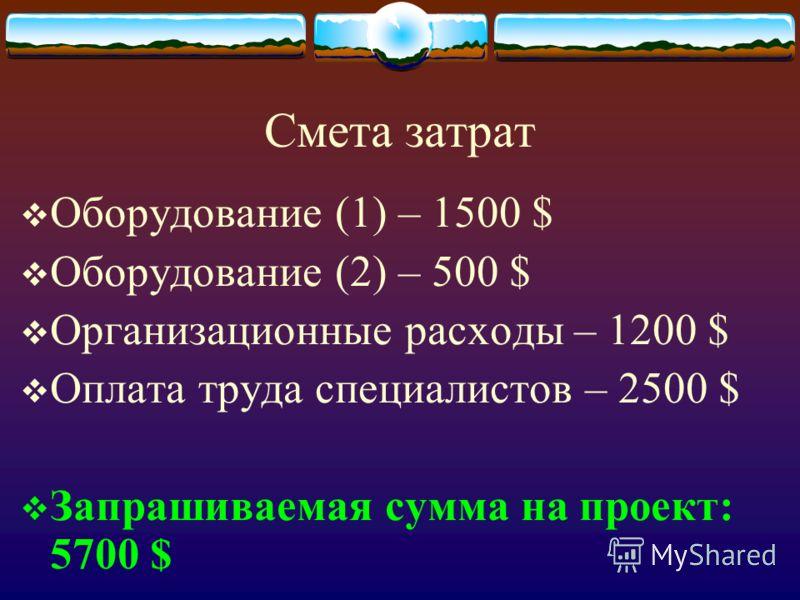 Смета затрат Оборудование (1) – 1500 $ Оборудование (2) – 500 $ Организационные расходы – 1200 $ Оплата труда специалистов – 2500 $ Запрашиваемая сумма на проект: 5700 $