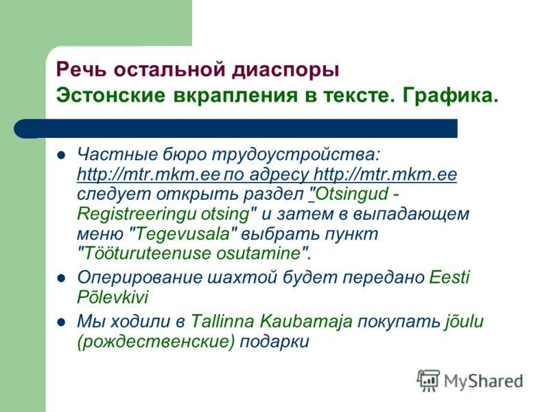 Речь остальной диаспоры Эстонские вкрапления в тексте. Графика. Частные бюро трудоустройства: http://mtr.mkm.ee по адресу http://mtr.mkm.ee следует открыть раздел