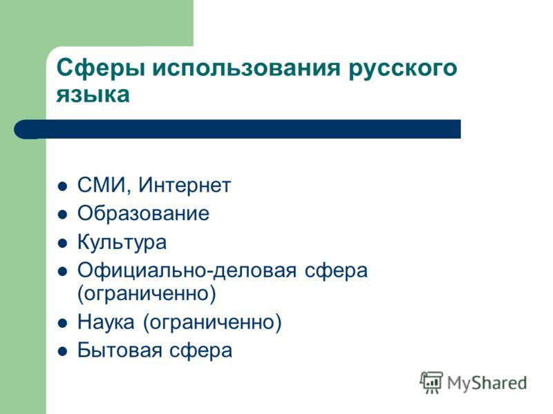 Сферы использования русского языка СМИ, Интернет Образование Культура Официально-деловая сфера (ограниченно) Наука (ограниченно) Бытовая сфера