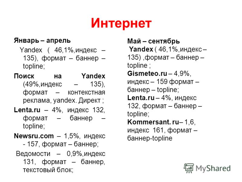 Январь – апрель Yandex ( 46,1%,индекс – 135), формат – баннер – topline; Поиск на Yandex (49%,индекс – 135), формат – контекстная реклама, yandex. Директ ; Lenta.ru – 4%, индекс 132, формат – баннер – topline; Newsru.com – 1,5%, индекс - 157, формат