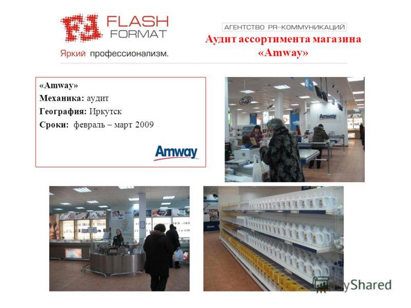 Аудит ассортимента магазина «Amway» Механика: аудит География: Иркутск Сроки: февраль – март 2009