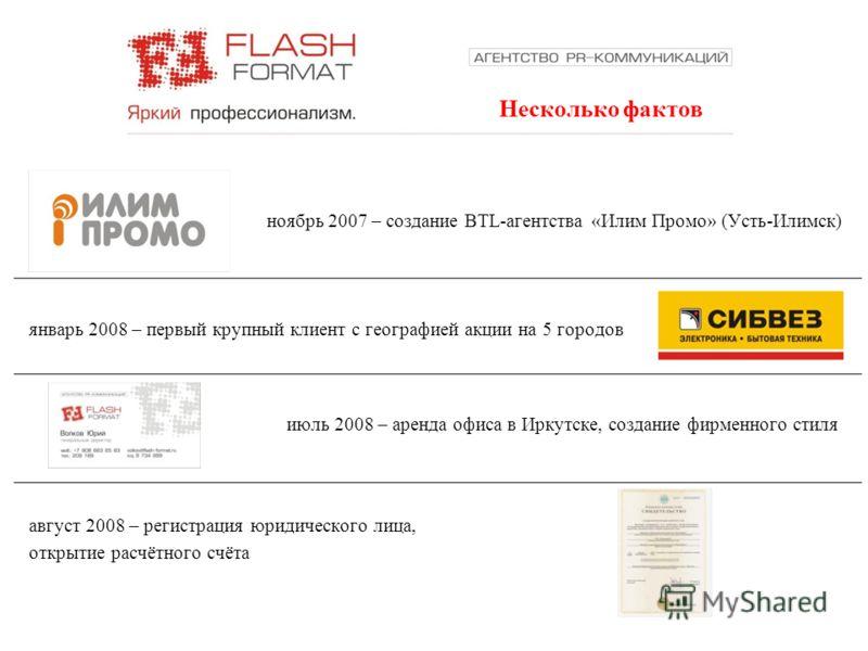 Несколько фактов январь 2008 – первый крупный клиент с географией акции на 5 городов ноябрь 2007 – создание BTL-агентства «Илим Промо» (Усть-Илимск) июль 2008 – аренда офиса в Иркутске, создание фирменного стиля август 2008 – регистрация юридического