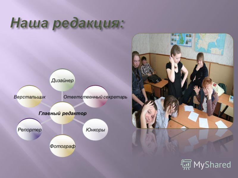 Главный редактор Дизайнер Ответственный секретарь ЮнкорыФотографРепортерВерстальщик