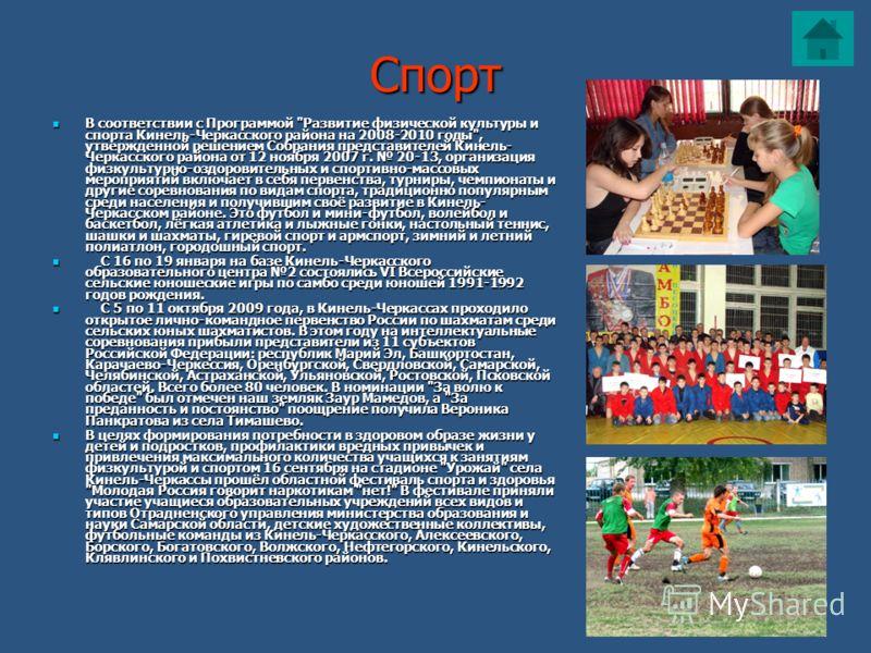 Спорт В соответствии с Программой
