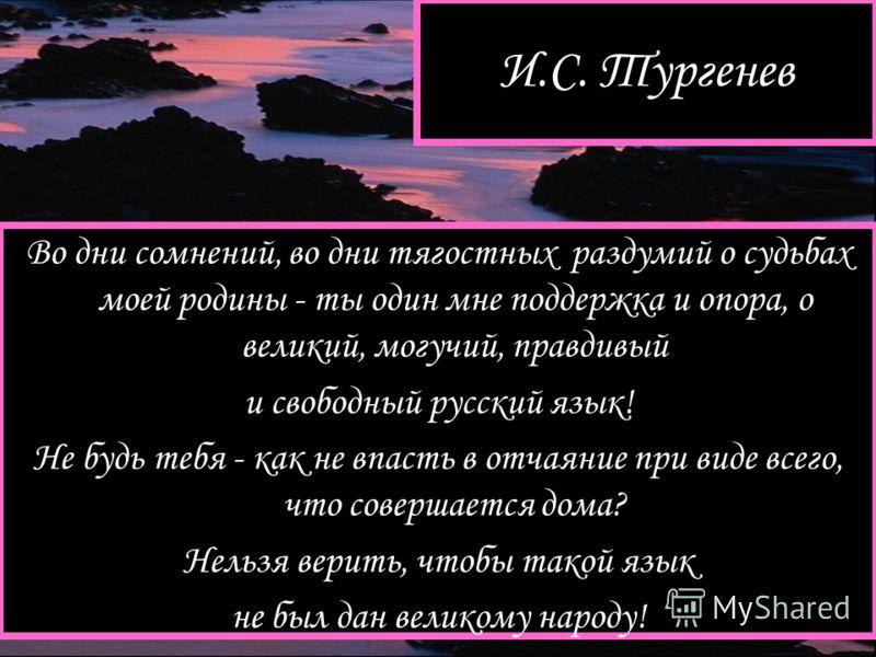 И.С. Тургенев Во дни сомнений, во дни тягостных раздумий о судьбах моей родины - ты один мне поддержка и опора, о великий, могучий, правдивый и свободный русский язык! Не будь тебя - как не впасть в отчаяние при виде всего, что совершается дома? Нель