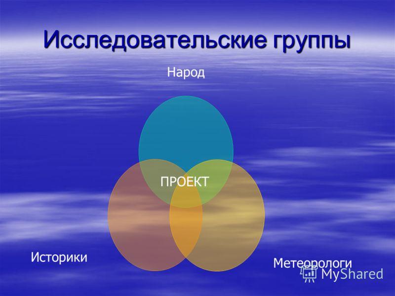 Исследовательские группы Народ Метеорологи Историки ПРОЕКТ
