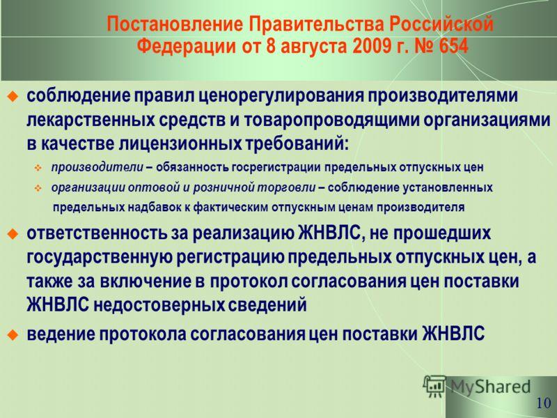 10 Постановление Правительства Российской Федерации от 8 августа 2009 г. 654 соблюдение правил ценорегулирования производителями лекарственных средств и товаропроводящими организациями в качестве лицензионных требований: производители – обязанность г
