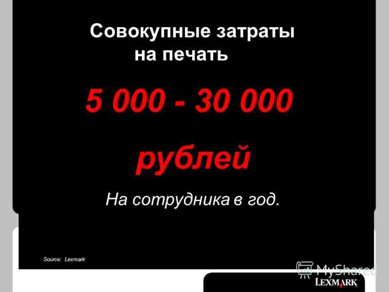 Совокупные затраты на печать 5 000 - 30 000 рублей На сотрудника в год. Source: Lexmark