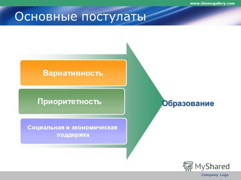 www.themegallery.com Company Logo Основные постулаты Вариативность Приоритетность Социальная и экономическая поддержка Образование