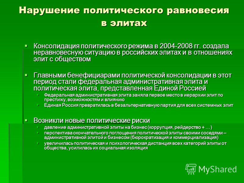 Нарушение политического равновесия в элитах Консолидация политического режима в 2004-2008 гг. создала неравновесную ситуацию в российских элитах и в отношениях элит с обществом Консолидация политического режима в 2004-2008 гг. создала неравновесную с