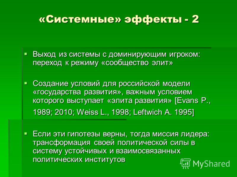 «Системные» эффекты - 2 Выход из системы с доминирующим игроком: переход к режиму «сообщество элит» Выход из системы с доминирующим игроком: переход к режиму «сообщество элит» Создание условий для российской модели «государства развития», важным усло