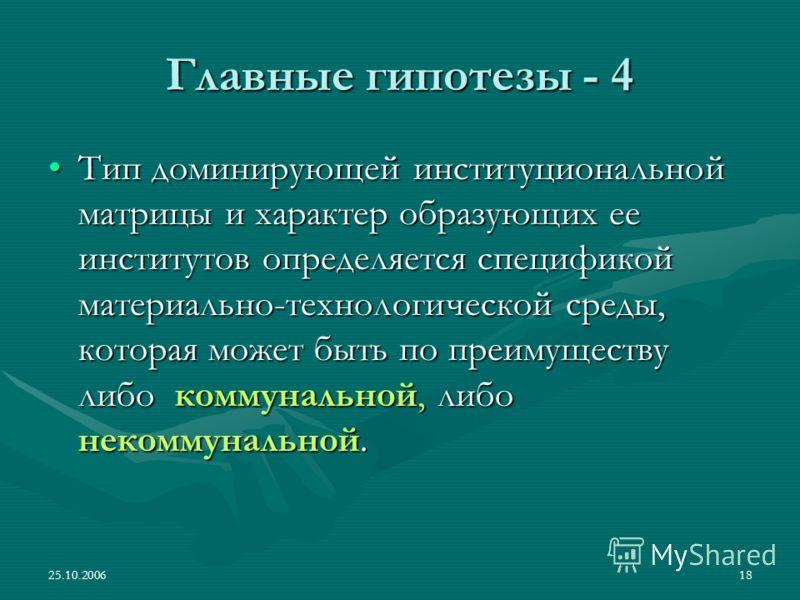 25.10.200618 Главные гипотезы - 4 Тип доминирующей институциональной матрицы и характер образующих ее институтов определяется спецификой материально-технологической среды, которая может быть по преимуществу либо коммунальной, либо некоммунальной.Тип