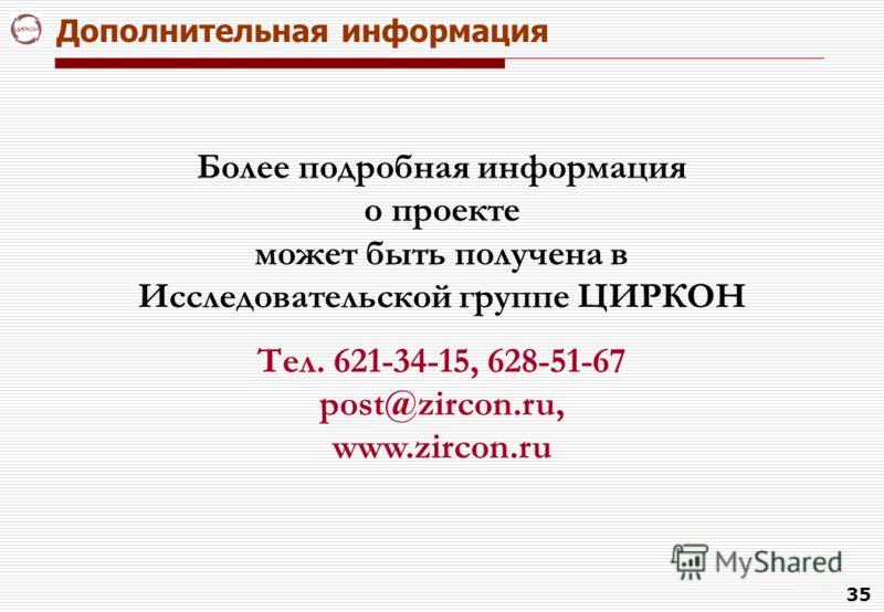 35 Дополнительная информация Более подробная информация о проекте может быть получена в Исследовательской группе ЦИРКОН Тел. 621-34-15, 628-51-67 post@zircon.ru, www.zircon.ru