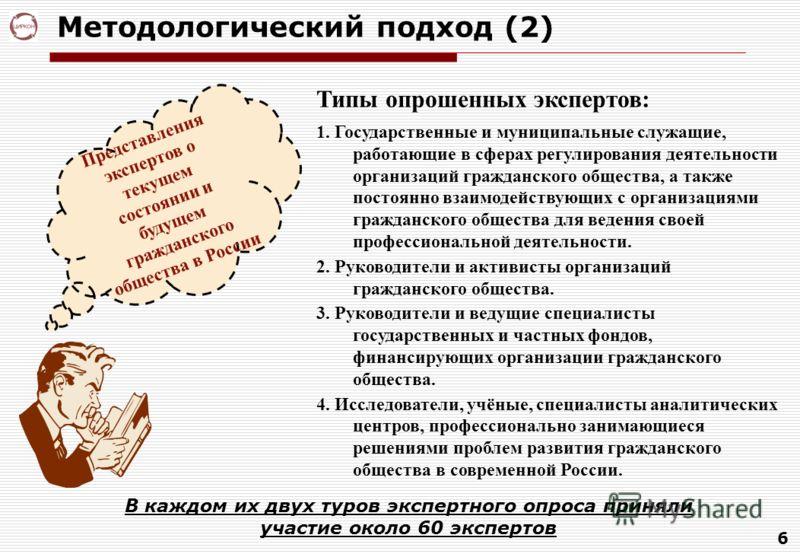 6 Методологический подход (2) Типы опрошенных экспертов: 1. Государственные и муниципальные служащие, работающие в сферах регулирования деятельности организаций гражданского общества, а также постоянно взаимодействующих с организациями гражданского о
