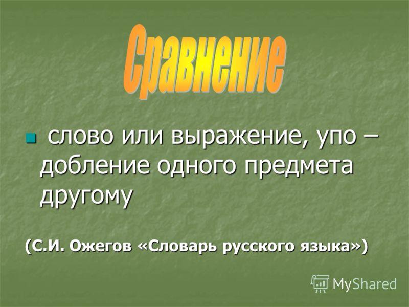слово или выражение, упо – добление одного предмета другому слово или выражение, упо – добление одного предмета другому (С.И. Ожегов «Словарь русского языка»)