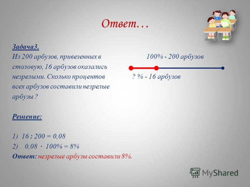 Ответ… Задача3. Из 200 арбузов, привезенных в 100% - 200 арбузов столовую, 16 арбузов оказались незрелыми. Сколько процентов ? % - 16 арбузов всех арбузов составили незрелые арбузы ? Решение: 1) 16 : 200 = 0,08 2)0,08 · 100% = 8% Ответ: незрелые арбу