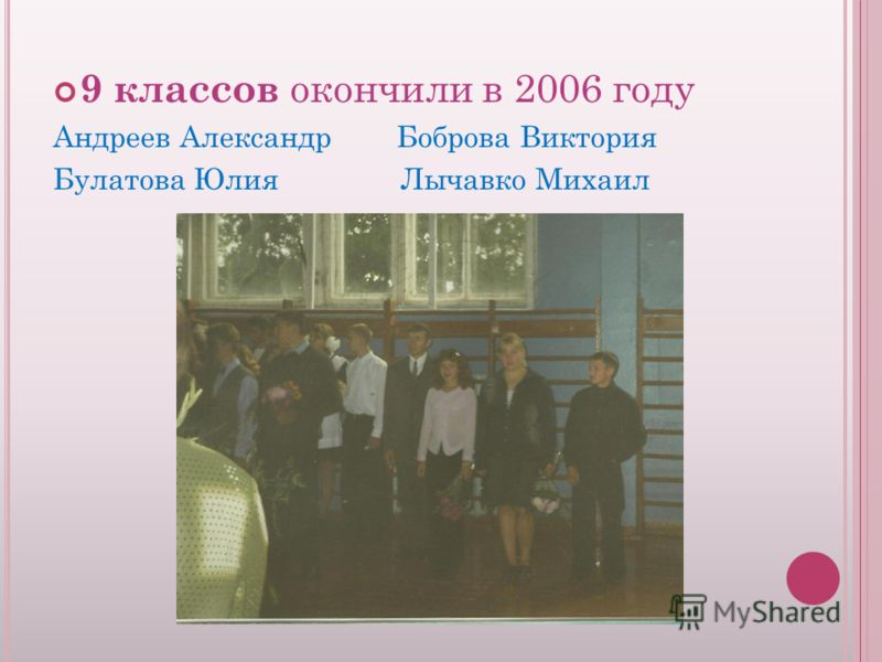 9 классов окончили в 2006 году Андреев Александр Боброва Виктория Булатова Юлия Лычавко Михаил