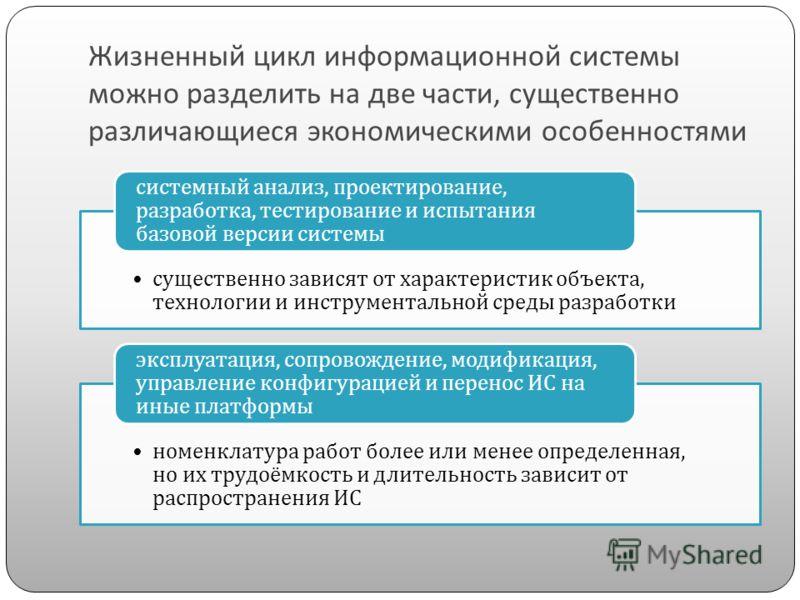 Жизненный цикл информационной системы можно разделить на две части, существенно различающиеся экономическими особенностями существенно зависят от характеристик объекта, технологии и инструментальной среды разработки системный анализ, проектирование,