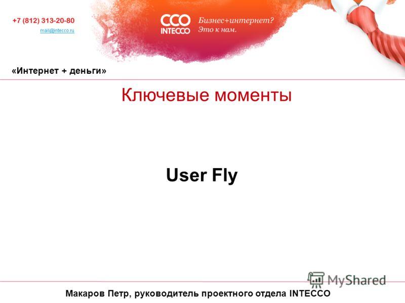«Интернет + деньги» Ключевые моменты User Fly Макаров Петр, руководитель проектного отдела INTECCO