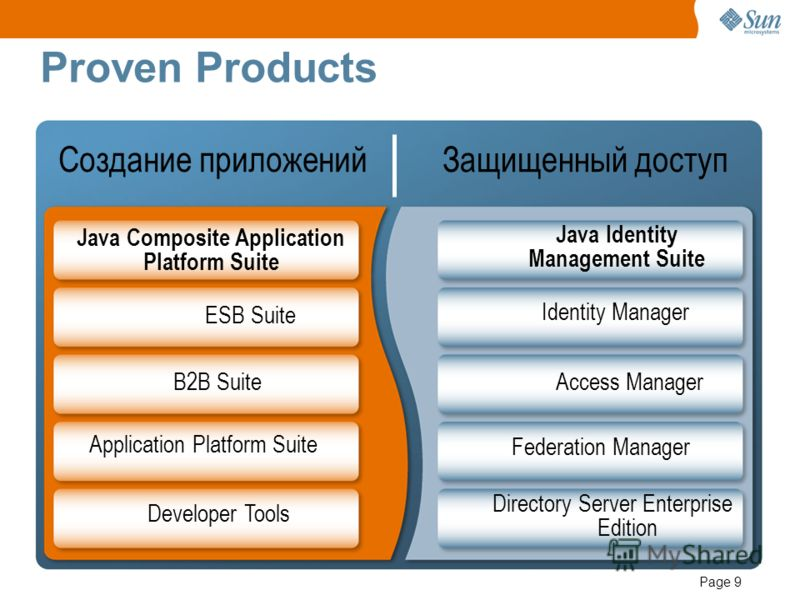 Page 9 Proven Products Java Composite Application Platform Suite Создание приложений Защищенный доступ ESB Suite B2B Suite Application Platform Suite Developer Tools Java Identity Management Suite Identity Manager Access Manager Directory Server Ente
