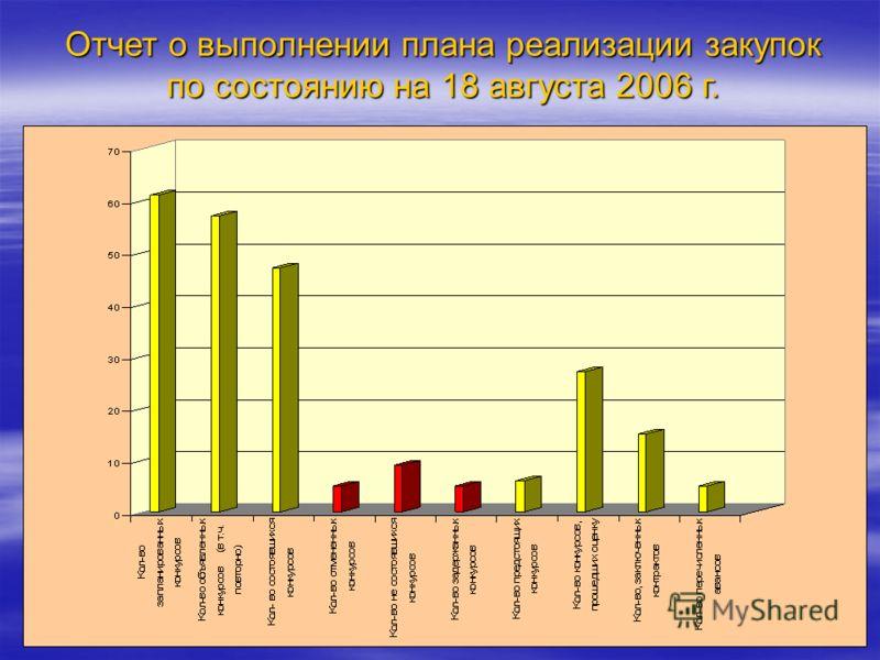 Отчет о выполнении плана реализации закупок по состоянию на 18 августа 2006 г.