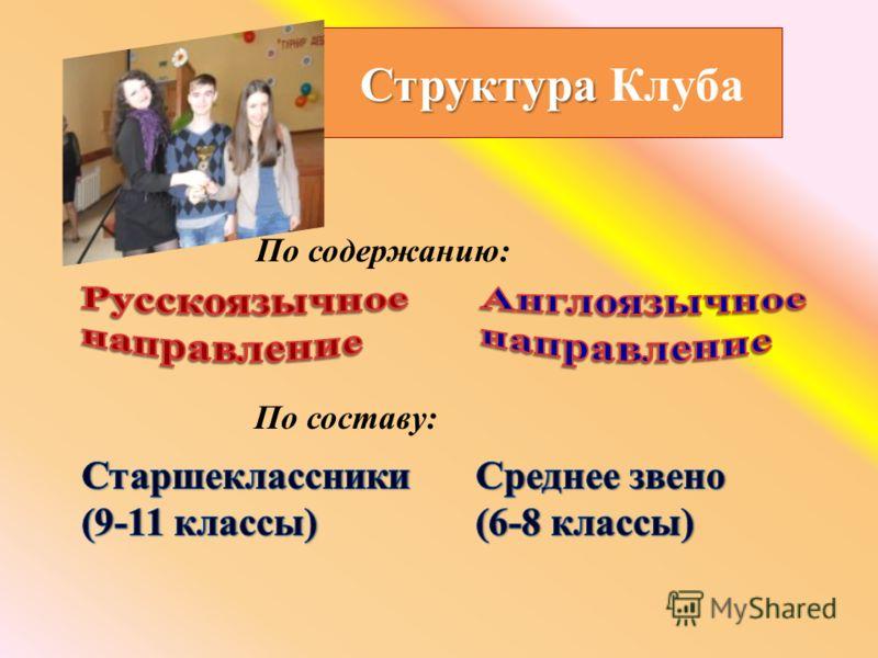 Структура Структура Клуба По составу: По содержанию: