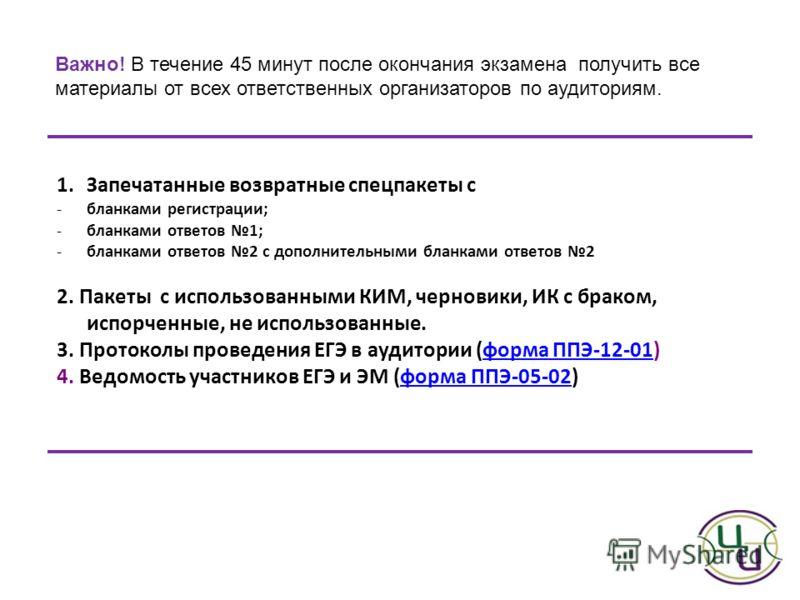 1.Запечатанные возвратные спецпакеты с -бланками регистрации; -бланками ответов 1; -бланками ответов 2 с дополнительными бланками ответов 2 2. Пакеты с использованными КИМ, черновики, ИК с браком, испорченные, не использованные. 3. Протоколы проведен