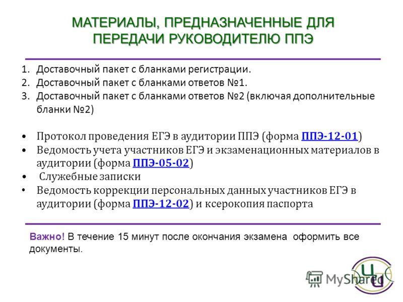 МАТЕРИАЛЫ, ПРЕДНАЗНАЧЕННЫЕ ДЛЯ ПЕРЕДАЧИ РУКОВОДИТЕЛЮ ППЭ 1.Доставочный пакет с бланками регистрации. 2.Доставочный пакет с бланками ответов 1. 3.Доставочный пакет с бланками ответов 2 (включая дополнительные бланки 2) Протокол проведения ЕГЭ в аудито