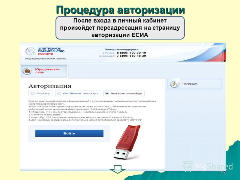 17 Процедура авторизации После входа в личный кабинет произойдет переадресация на страницу авторизации ЕСИА