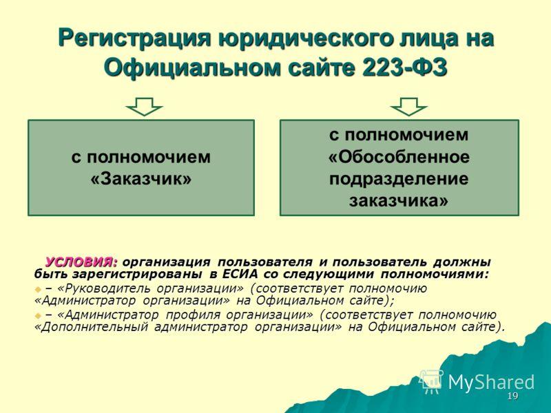 19 Регистрация юридического лица на Официальном сайте 223-ФЗ УСЛОВИЯ: организация пользователя и пользователь должны быть зарегистрированы в ЕСИА со следующими полномочиями: – «Руководитель организации» (соответствует полномочию «Администратор органи