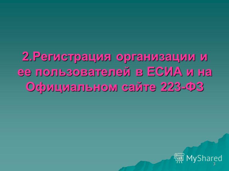 3 2.Регистрация организации и ее пользователей в ЕСИА и на Официальном сайте 223-ФЗ