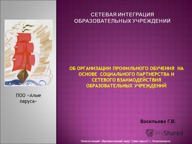 Полисистемный образовательный округ Алые паруса г. Петрозаводска ПОО «Алые паруса» ОБ ОРГАНИЗАЦИИ ПРОФИЛЬНОГО ОБУЧЕНИЯ НА ОСНОВЕ СОЦИАЛЬНОГО ПАРТНЕРСТВА И СЕТЕВОГО ВЗАИМОДЕЙСТВИЯ ОБРАЗОВАТЕЛЬНЫХ УЧРЕЖДЕНИЙ Васильева Г.В.