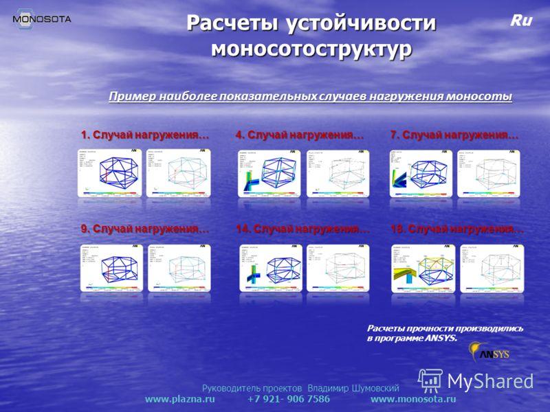Руководитель проектов Владимир Шумовский www.plazna.ru +7 921- 906 7586 www.monosota.ru Ru Расчеты устойчивости моносотоструктур Расчеты прочности производились в программе ANSYS. 1. Случай нагружения… Пример наиболее показательных случаев нагружения