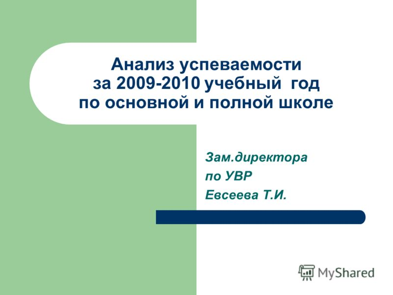 Анализ успеваемости за 2009-2010 учебный год по основной и полной школе Зам.директора по УВР Евсеева Т.И.