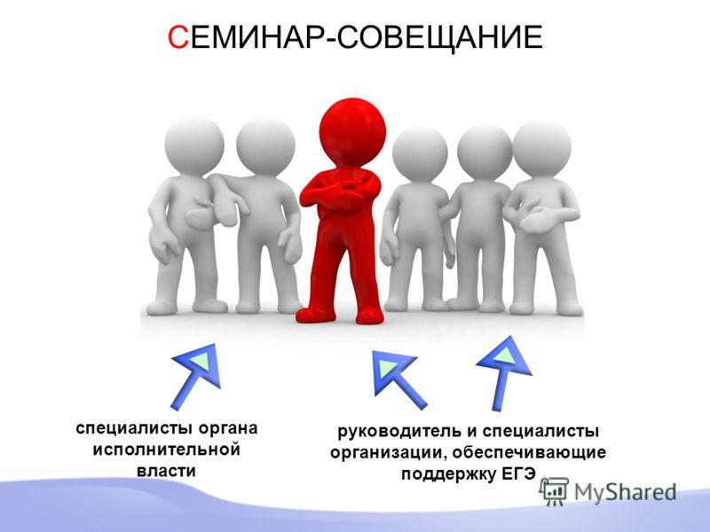 СЕМИНАР-СОВЕЩАНИЕ специалисты органа исполнительной власти руководитель и специалисты организации, обеспечивающие поддержку ЕГЭ