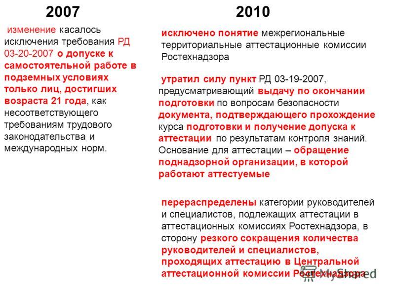 изменение касалось исключения требования РД 03-20-2007 о допуске к самостоятельной работе в подземных условиях только лиц, достигших возраста 21 года, как несоответствующего требованиям трудового законодательства и международных норм. 20102007 исключ