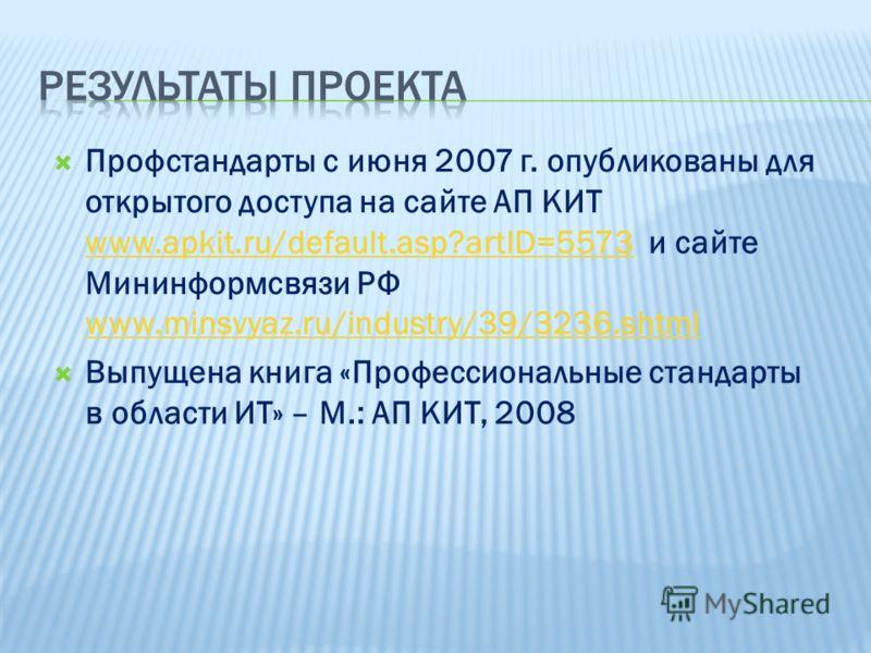 Профстандарты с июня 2007 г. опубликованы для открытого доступа на сайте АП КИТ www.apkit.ru/default.asp?artID=5573 и сайте Мининформсвязи РФ www.minsvyaz.ru/industry/39/3236.shtml www.apkit.ru/default.asp?artID=5573 www.minsvyaz.ru/industry/39/3236.