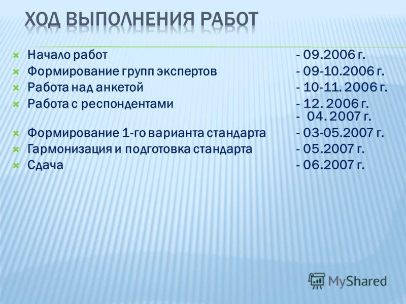 Начало работ - 09.2006 г. Формирование групп экспертов - 09-10.2006 г. Работа над анкетой - 10-11. 2006 г. Работа с респондентами - 12. 2006 г. - 04. 2007 г. Формирование 1-го варианта стандарта- 03-05.2007 г. Гармонизация и подготовка стандарта- 05.