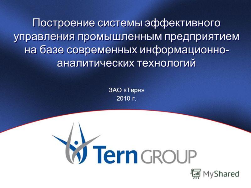 Построение системы эффективного управления промышленным предприятием на базе современных информационно- аналитических технологий ЗАО «Терн» 2010 г.